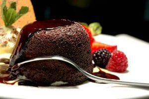 Homemade Dark Chocolate and Basil Fondants: Sponge Pudding with Fragrant Basil and White Chocolate Sauce Recipe