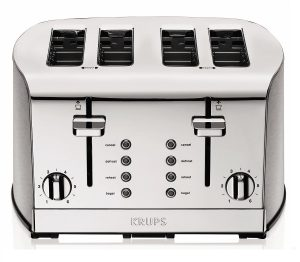 KRUPS KH734D Breakfast Set 4-Slot Toaster with Brushed and Chrome Stainless Steel Housing Product Imge