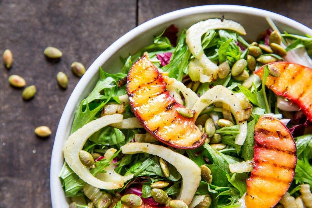 Summer Sweet Grilled Peach Green Salad
