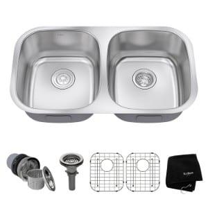 Kraus KBU22 32 inch Undermount 50 50 Double Bowl 16 gauge Stainless Steel Kitchen Sink product image