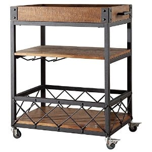 TRIBECCA HOME Myra Rustic Mobile Kitchen Bar Serving Cart product image