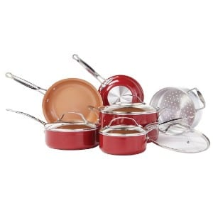 Bulbhead Red Copper 10 Pc Copper Infused Ceramic Non Stick Cookware Set Product Image