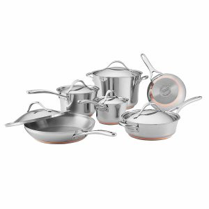 Anolon Nouvelle Copper Stainless Steel 11 Piece Cookware Set Product Image