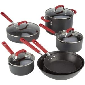 Emeril Lagasse 63045 Hard Anodized Dishwasher Safe Nonstick 10 Piece Pots And Pans Cookware Set Product Image