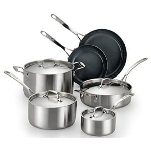 Lagostina Q552sa64 Axia Stainless Steel Ceramic Nonstick Pfoa Ptfe Free Cookware Set Product Image