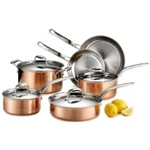 Lagostina Q554sa64 Martellata Tri Ply Hammered Stainless Steel Copper Oven Safe Cookware Set Product Image