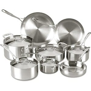 Lagostina Q555sd Axia Tri Ply Stainless Steel Dishwasher Safe Oven Safe Cookware Set Product Image