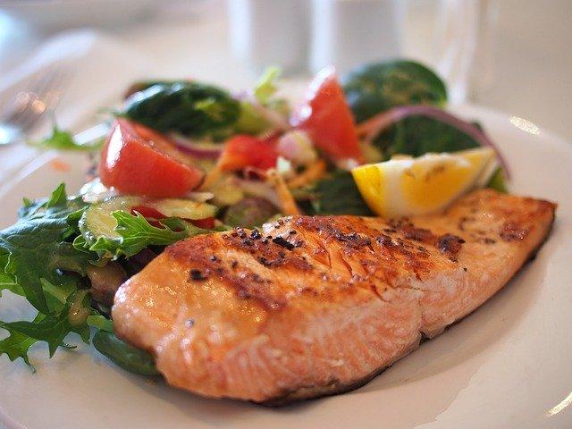 salmon, dish, food