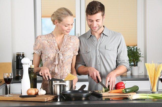 woman, kitchen, man