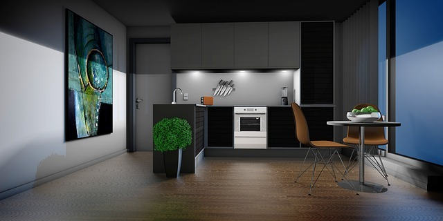 kitchen, living room, apartment
